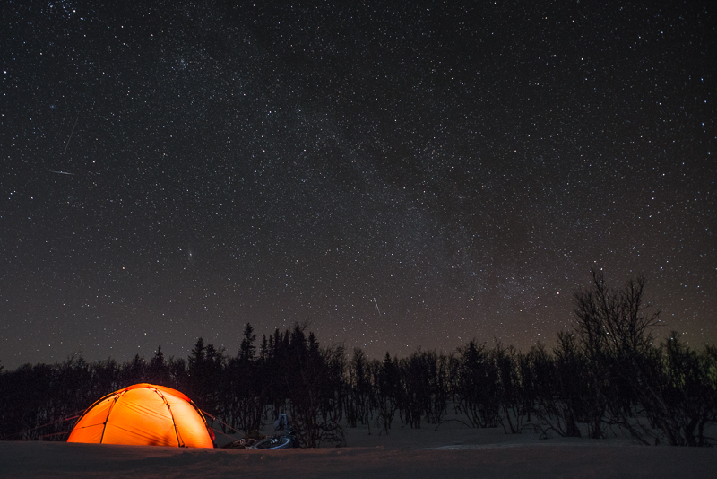 Three things I like: A Hilleberg Soulo tent, a Surly Moonlander fatbike and the Milky Way.